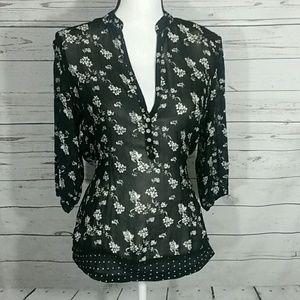 GNW sheer v-neck 3/4 sleeve blouse polka-dot